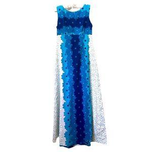 Vintage Ui Maikai Hawaiian Barkcloth Dress Blue S